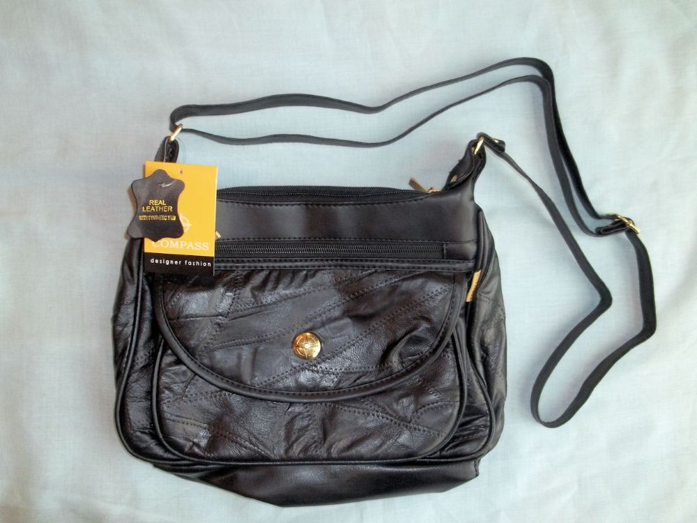 Black Leather Handbag with Long Shoulder Strap